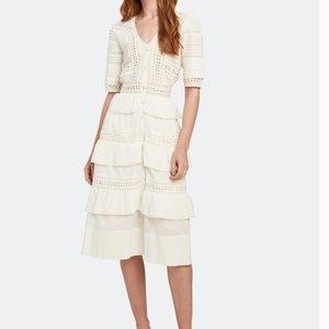 LoveShackFancy Rebecca Eyelet Midi Dress Size S